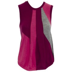 COMME DES GARCONS AD1995 pink maroon grey colorblocked draped knitted vest S