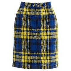 "COMME DES GARCONS AW1990 blue yellow tartan plaid checked wool mini skirt S 24"""