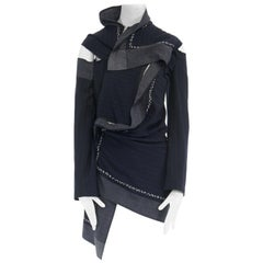 COMME DES GARCONS AW2003 deconstructed patchwork cut out zip pinstripe jacket M