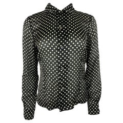 Comme des Garcons Black and White Polka Dot Blouse Top, Size Small