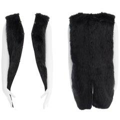 COMME DES GARCONS black faux fur button trim sleeveless longline vest jacket S