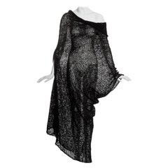 Comme des Garcons black knitted raw silk dress, ss 1984
