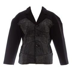 Comme des Garcons black neoprene jacket with satin brocade appliqué, fw 1990