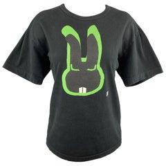 COMME des GARCONS BLACK Size XL Black & Green Bunny Graphic Crewneck T-shirt