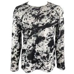 COMME des GARCONS BLACK Size XXL Black & White Splattered Polyester Pullover