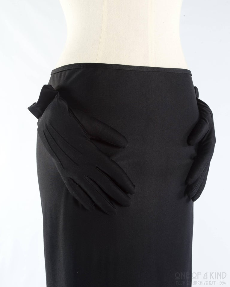 Comme des Garcons black spandex pencil skirt with embossed gloves  Autumn-Winter 2007