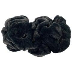 COMME des GARCONS Black Velvet Faux Fur Gathered Circle Scarf