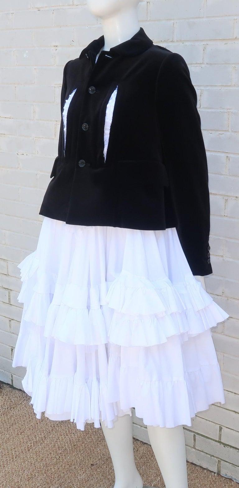 Comme des Garcons Black Velvet Faux Jacket & White Cotton Petticoat Dress For Sale 5