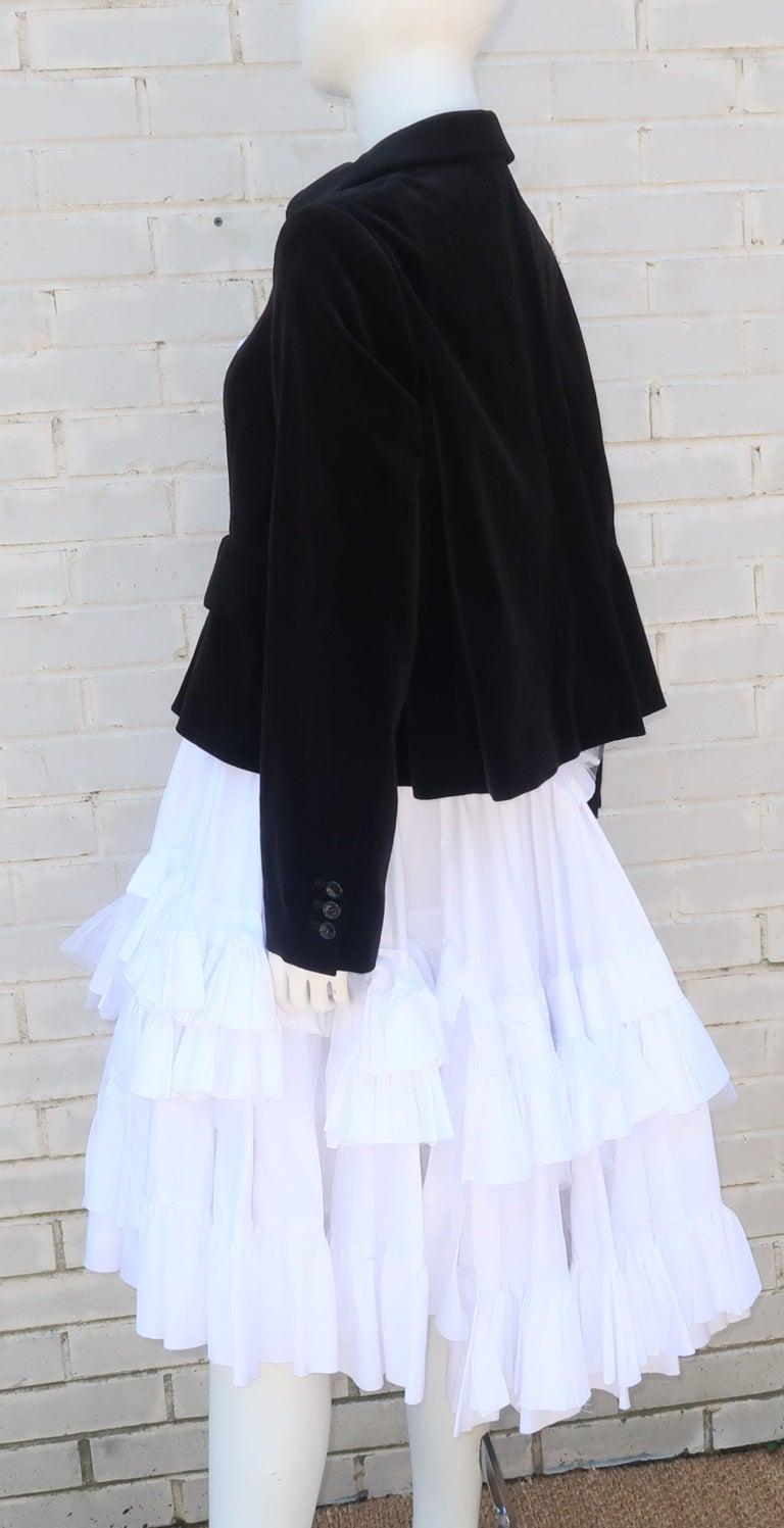Comme des Garcons Black Velvet Faux Jacket & White Cotton Petticoat Dress For Sale 6