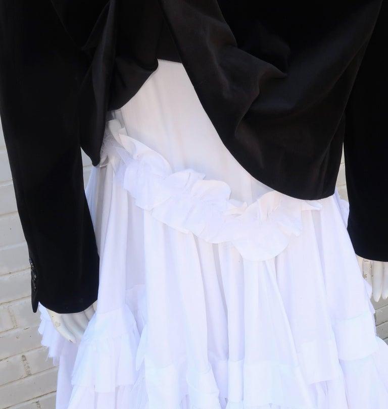 Comme des Garcons Black Velvet Faux Jacket & White Cotton Petticoat Dress For Sale 7