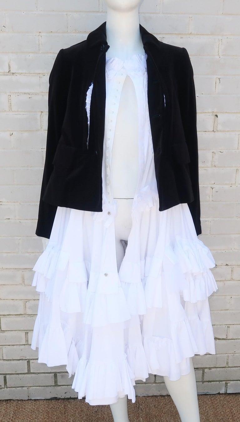 Comme des Garcons Black Velvet Faux Jacket & White Cotton Petticoat Dress For Sale 8