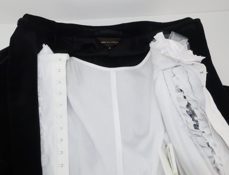 Comme des Garcons Black Velvet Faux Jacket & White Cotton Petticoat Dress For Sale 10
