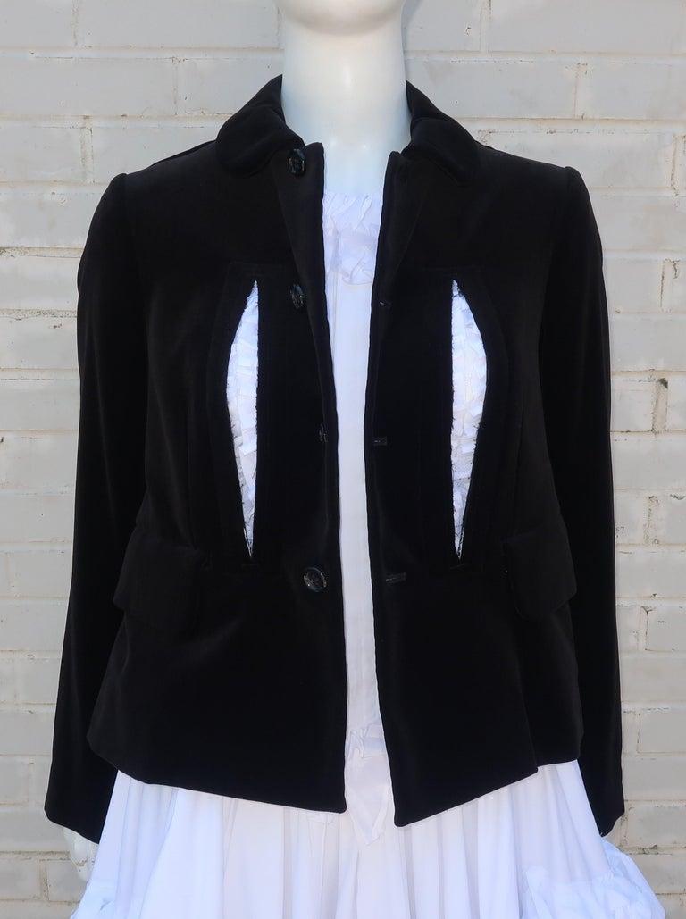 Gray Comme des Garcons Black Velvet Faux Jacket & White Cotton Petticoat Dress For Sale