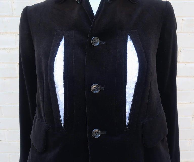 Women's Comme des Garcons Black Velvet Faux Jacket & White Cotton Petticoat Dress For Sale
