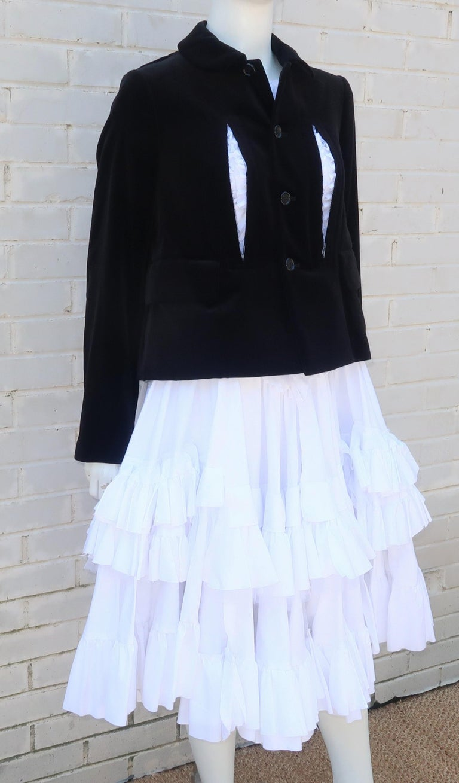 Comme des Garcons Black Velvet Faux Jacket & White Cotton Petticoat Dress For Sale 1