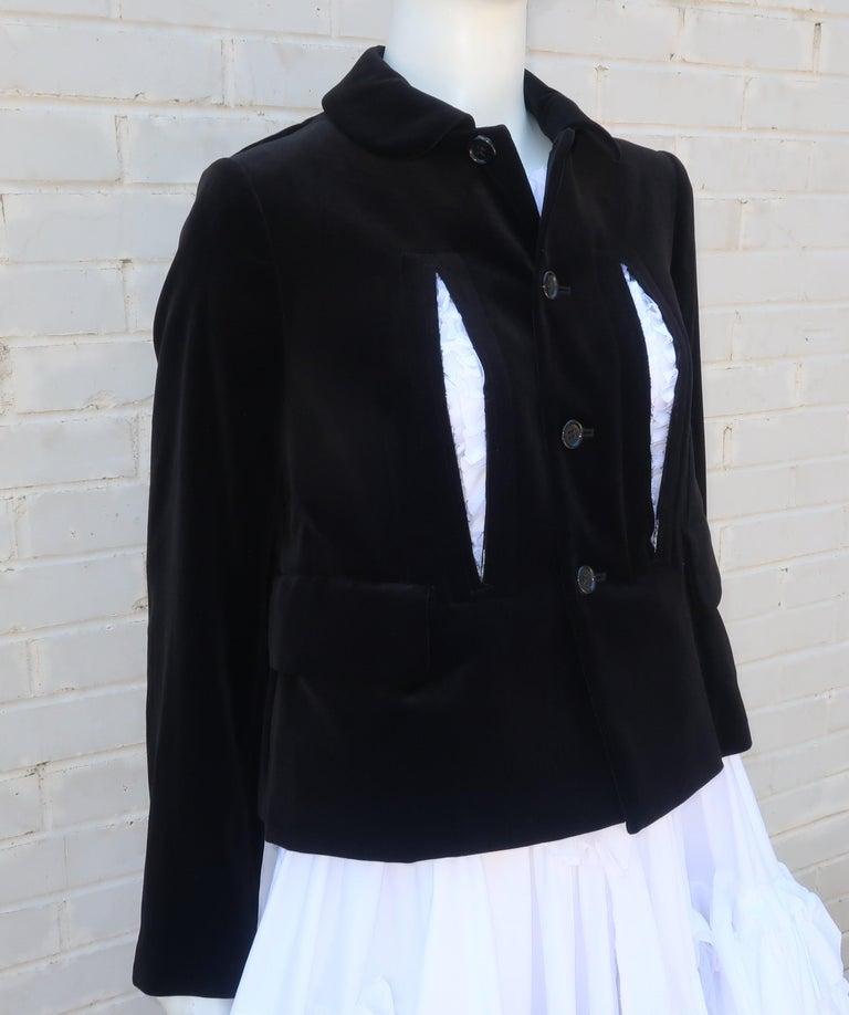 Comme des Garcons Black Velvet Faux Jacket & White Cotton Petticoat Dress For Sale 2