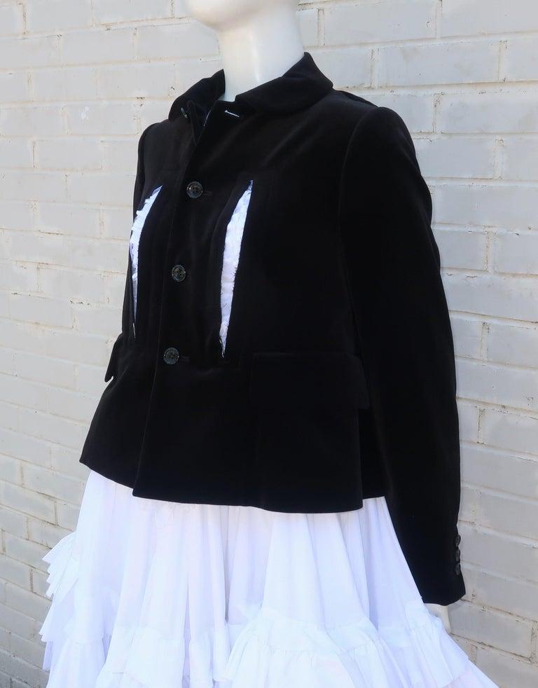 Comme des Garcons Black Velvet Faux Jacket & White Cotton Petticoat Dress For Sale 4