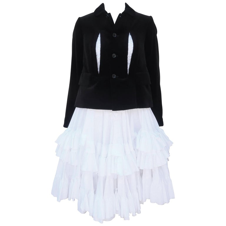 Comme des Garcons Black Velvet Faux Jacket & White Cotton Petticoat Dress For Sale
