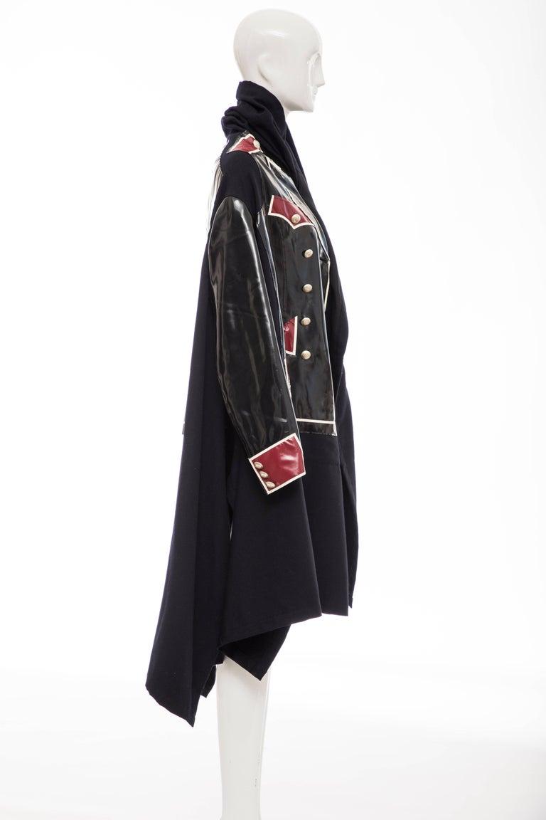 Women's Comme des Garcons Runway Black Nylon Inset Vinyl Panels Coat,  Fall 2009 For Sale