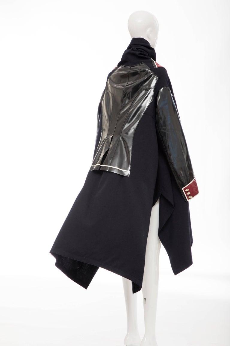 Comme des Garcons Runway Black Nylon Inset Vinyl Panels Coat,  Fall 2009 For Sale 2