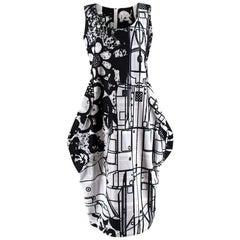 Comme des Garcons Black & White Print Sleeveless Bubble Hip Dress - Size M
