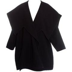 Comme des Garcons black wool oversized coat, fw 1983