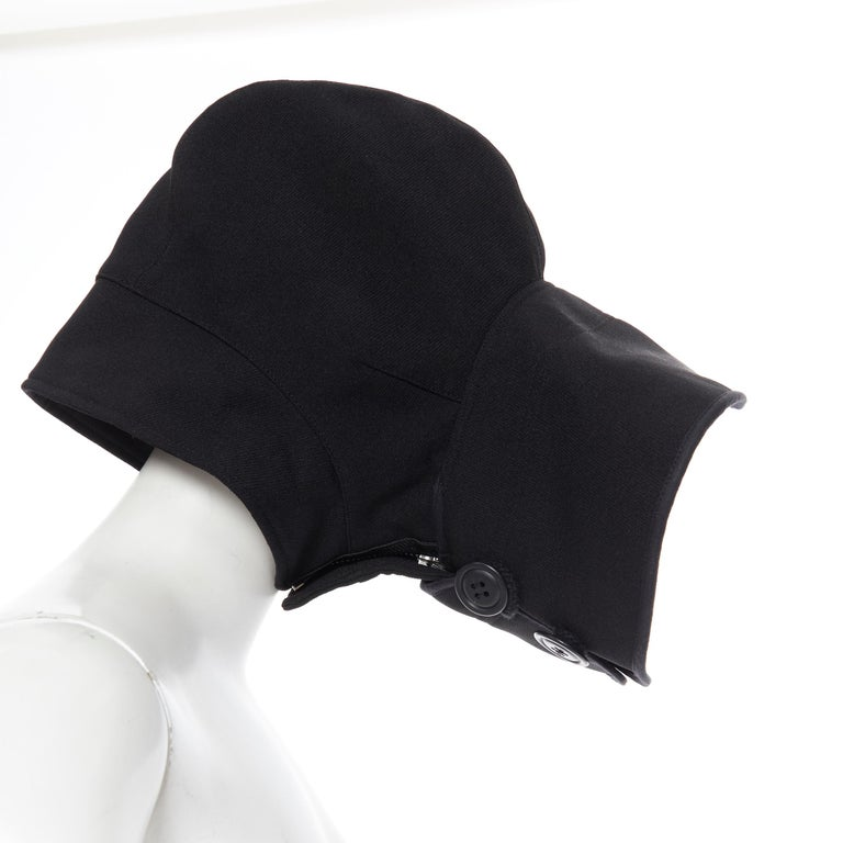 COMME DES GARCONS black zip toggle button upside down brim snood hat For Sale 5