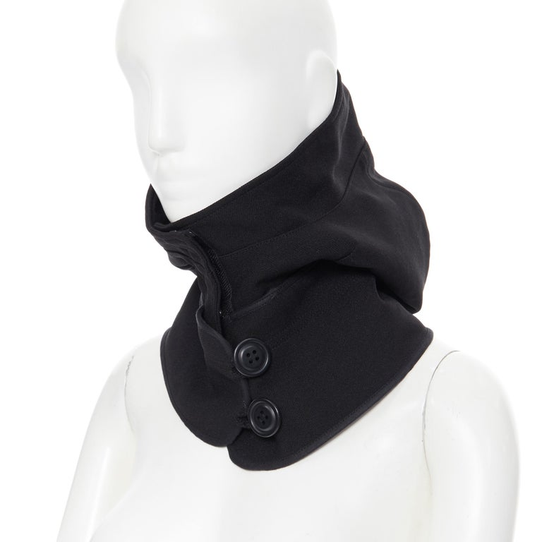 COMME DES GARCONS black zip toggle button upside down brim snood hat For Sale 6