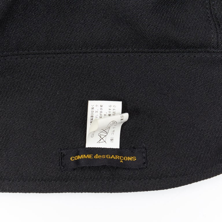 COMME DES GARCONS black zip toggle button upside down brim snood hat For Sale 7