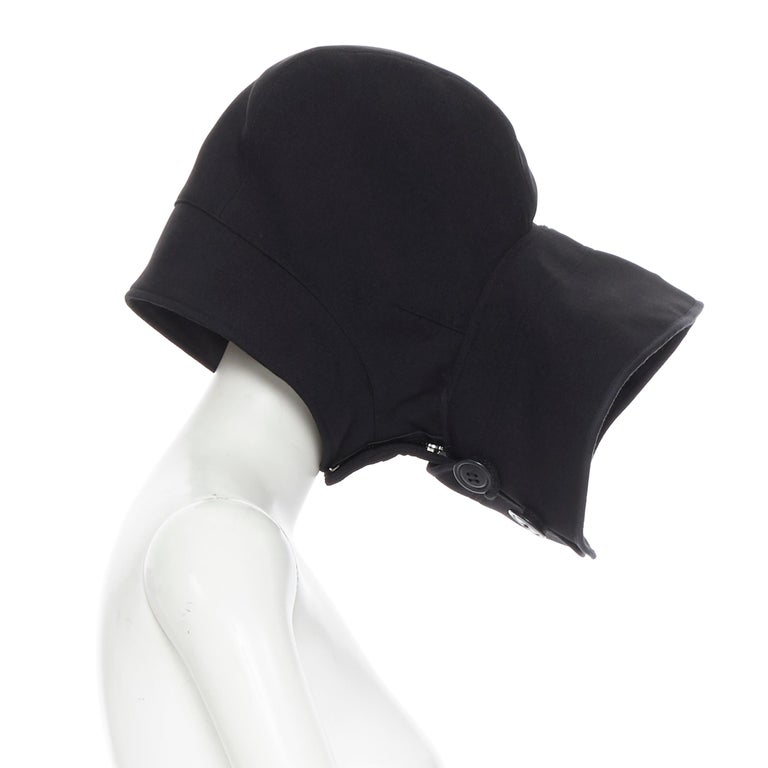 Black COMME DES GARCONS black zip toggle button upside down brim snood hat For Sale