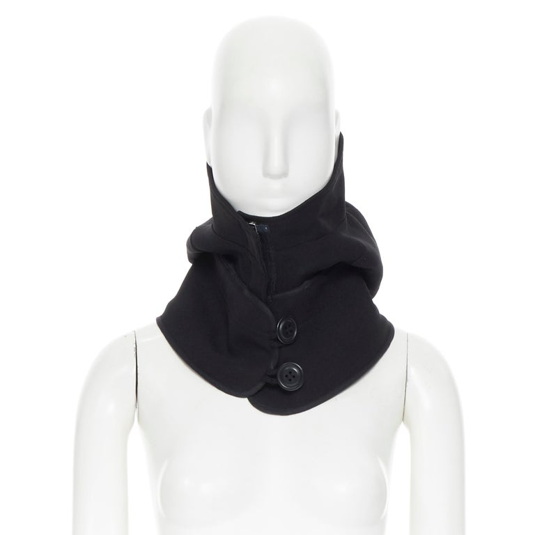 COMME DES GARCONS black zip toggle button upside down brim snood hat For Sale 1