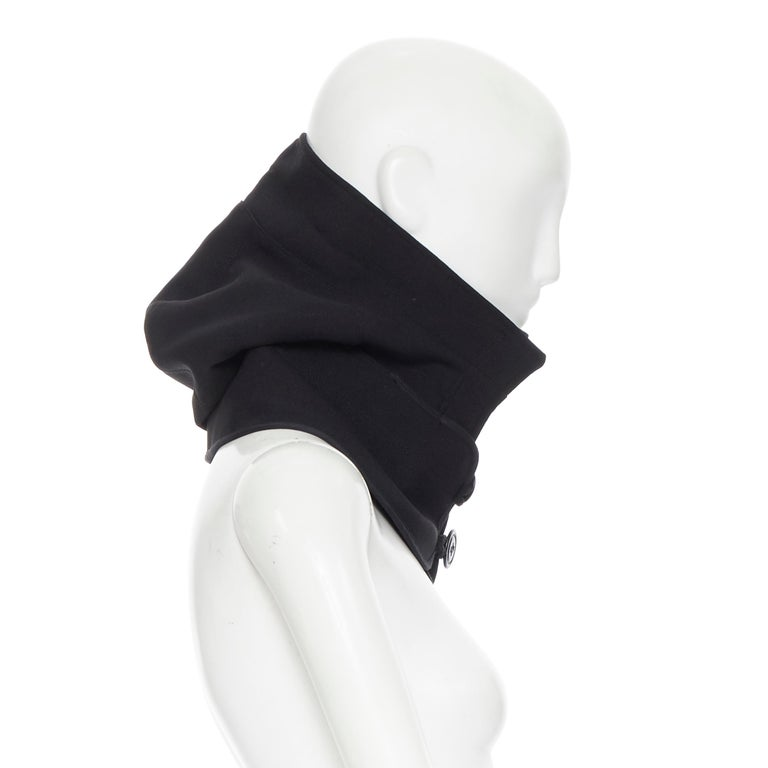 COMME DES GARCONS black zip toggle button upside down brim snood hat For Sale 3