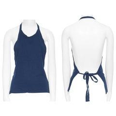 COMME DES GARCONS blue halter-neck dudou top open back self tie napkin S