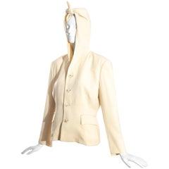 Comme des Garçons cream wool hooded jacket, fw 1988