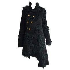 Comme Des Garcons Deconstructed Patchwork Shaggy Black Faux Fur Coat A/W 2002