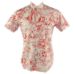 COMME des GARCONS Disney Size L White & Red Print Cotton Short Sleeve Shirt