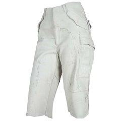 Comme des Garçons Distressed Leather Pants Off-White, 2002