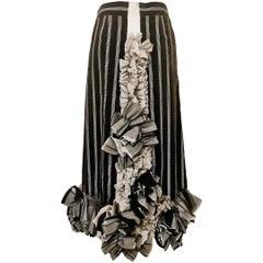 Comme des Garcons Edwardian Inspired Velvet Ruffle Trim Skirt AD 2000