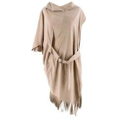 Comme Des Garcons Faux Suede Asymmetric Fringed Dress - Size M