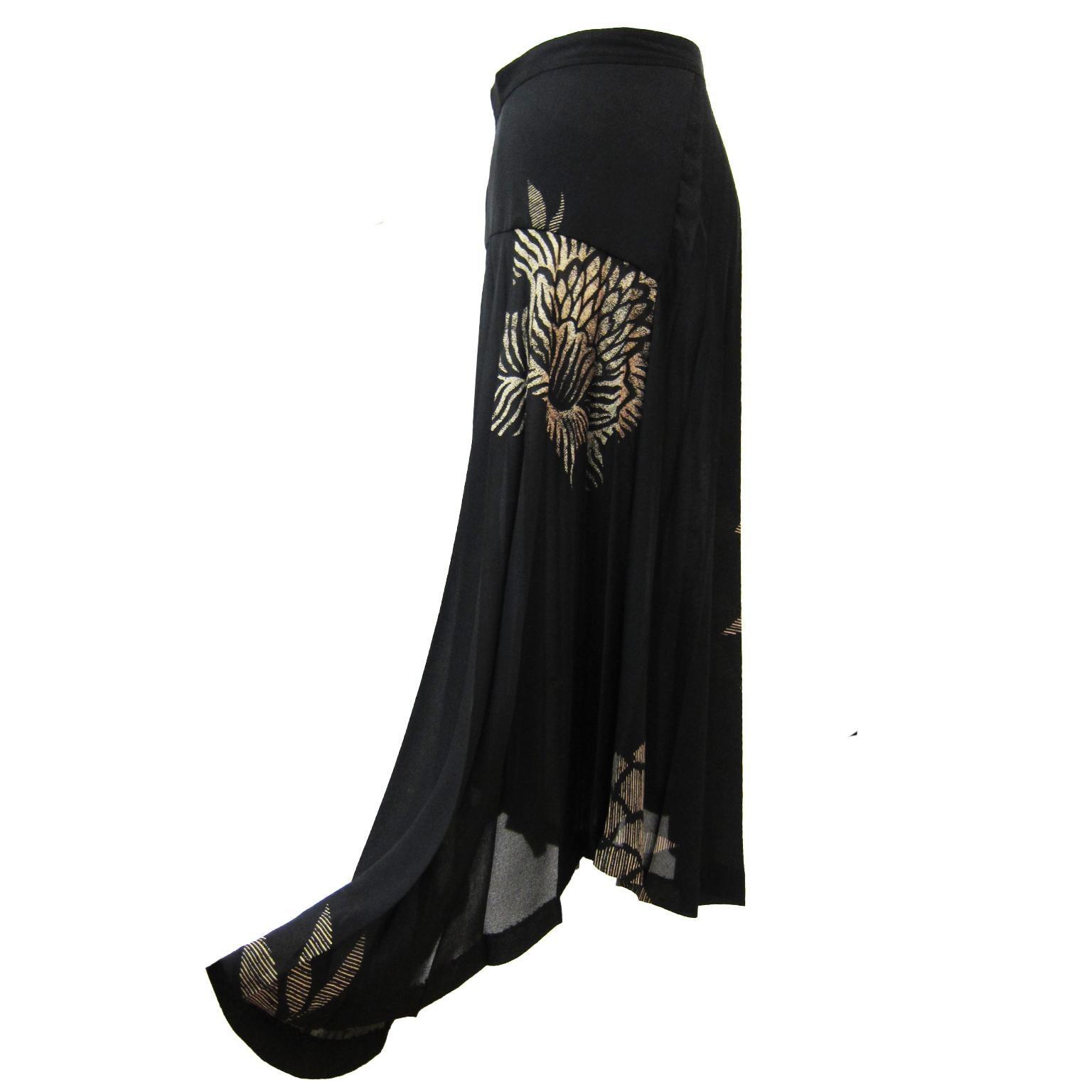 Comme des Garcons Floral Print Black Pleated Skirt AD 1992