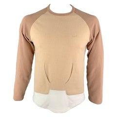 COMME des GARCONS GANRYU Size L Brown Color Block Cotton Crew-Neck Pullover