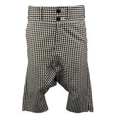 COMME des GARCONS GANRYU Size S Black & White Gingham Cotton Drop-Crotch Pants