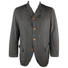 COMME des GARCONS HOMEM DEUX Size XL Black Wrinkle Textured Notch Lapel Jacket