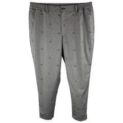 COMME des GARCONS HOMME DEUX Size L Charcoal Embroidery Wool Pants