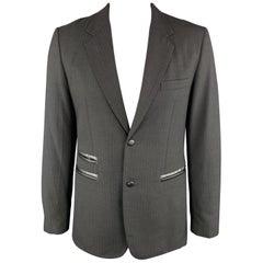 COMME des GARCONS HOMME DEUX Size XL Stripe Black on Black Wool / Mohair Leather