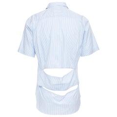 COMME DES GARCONS HOMME PLUS 2015 blue striped cotton slash cut out back shirt S