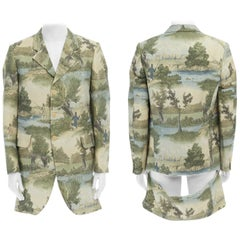 COMME DES GARCONS HOMME PLUS 2015 green illustration deconstructed long jacket M