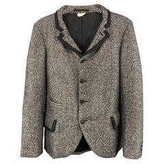 COMME des GARCONS HOMME PLUS Chest Size XS Tweed Grey & Black Jacket