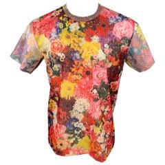 COMME des GARCONS HOMME PLUS Fall 2016 Size L Multi-Color Mesh Floral T-shirt