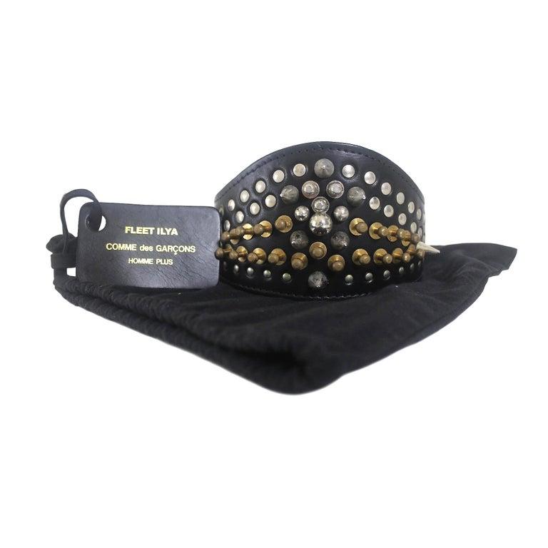 Comme des Garcons Homme Plus Fleet Ilya Leather Studded Headband 2013 For Sale 6